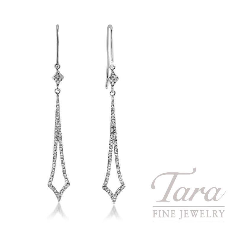 18k White Gold Diamond Dangle Earrings, 2.3G, .36TDW