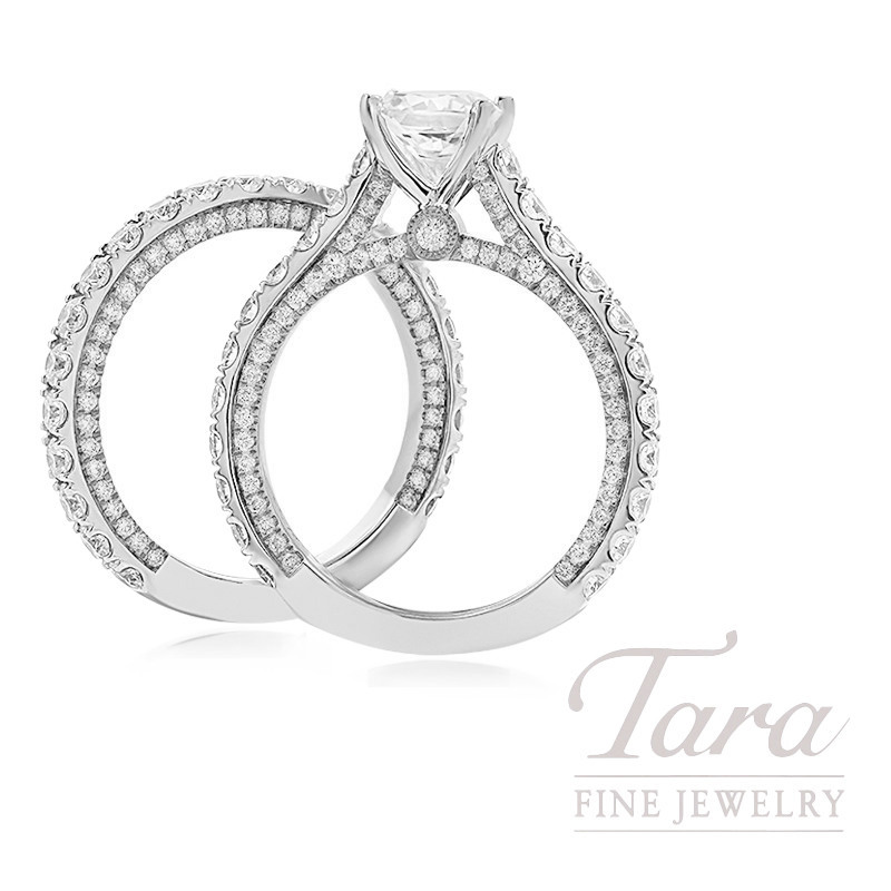 18k White Gold Diamond Wedding Set, 2.35TDW (Center Stone Sold Separately)
