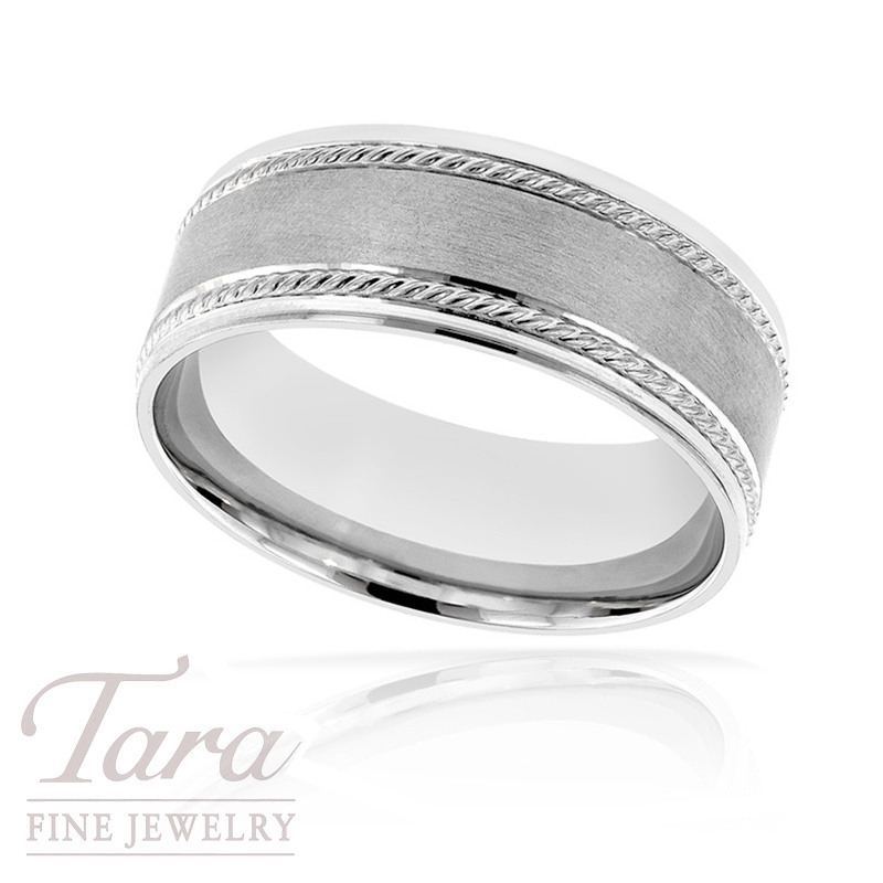 Gentlemen's 18k White Gold Wedding Band, 9.5G