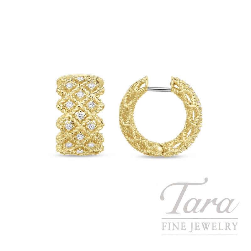 Roberto Coin 18k Yellow Gold Roman Barocco Diamond Three Row Earrings 41tdw