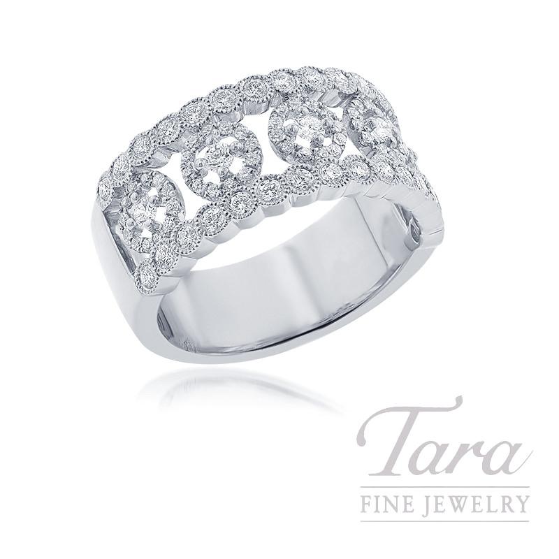 18K White Gold Diamond Fashion Ring, 8.1G, .76TDW