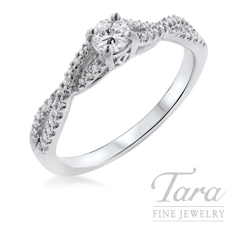 14K White Gold Engagement Ring, .19CT Center Diamond, .15TDW