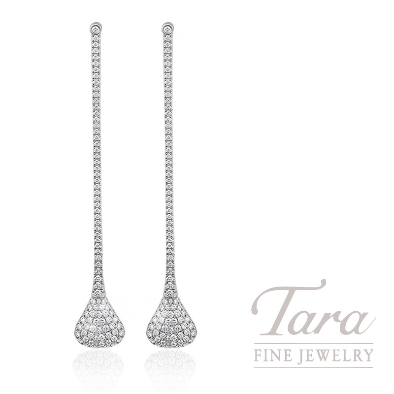 18k White Gold Pave Diamond Drop Earrings, 6.3g, 1.23TDW
