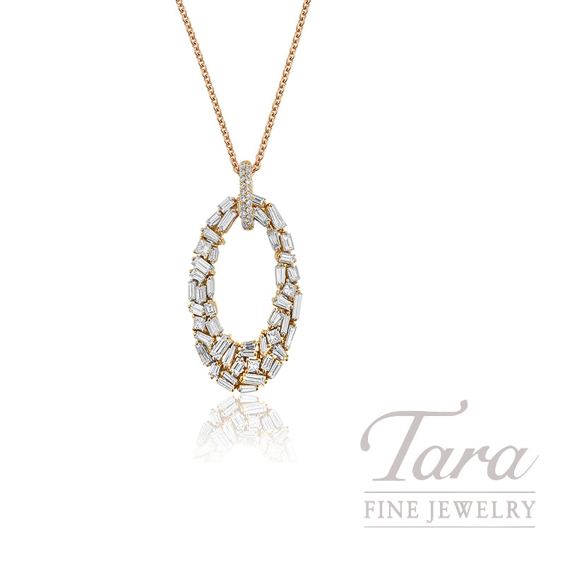 "Norman Covan 18K Rose Gold Baguette, Round, Princess Cut Diamond Necklace, 16/18"" Chain, 9.4G, 3.08TDW"