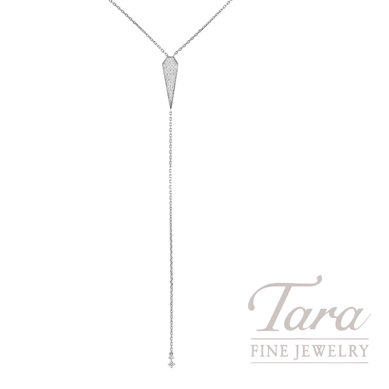 18k White Gold Pave Lariat Diamond Necklace, 5.1G, .55TDW