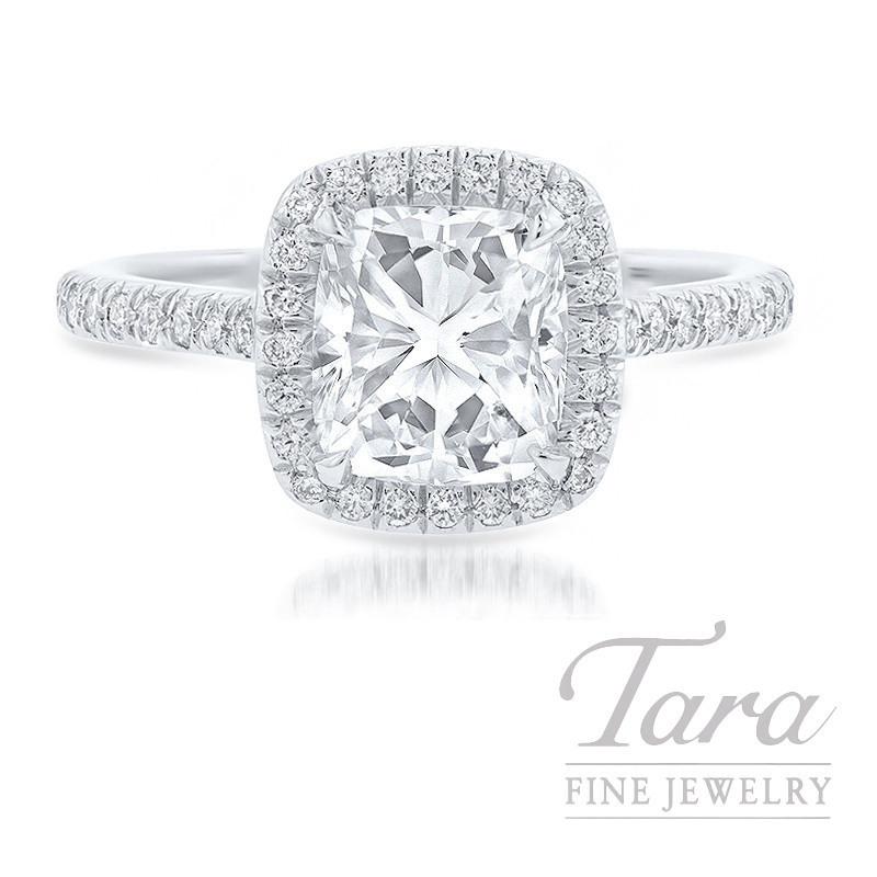 18K White Gold Cushion Diamond Halo Engagement Ring, 1.83CT Cushion Diamond, 4.5G, .30TDW (Center Stone Sold Separately)