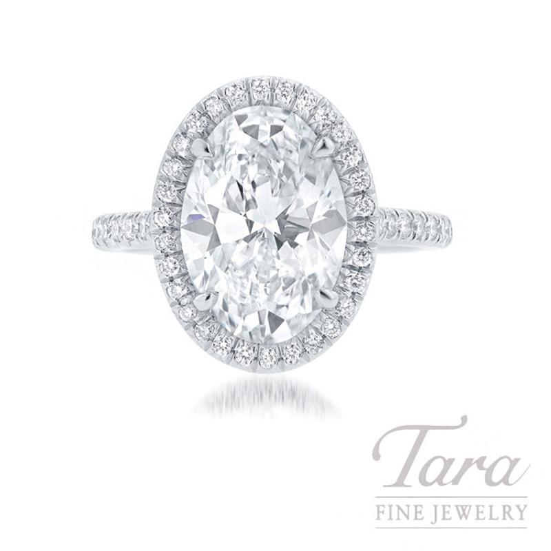 Platinum Oval-shape Diamond Halo Engagement Ring, 4.22CT Oval-shape Diamond, 7.8G, .38TDW (Center Stone Sold Separately)
