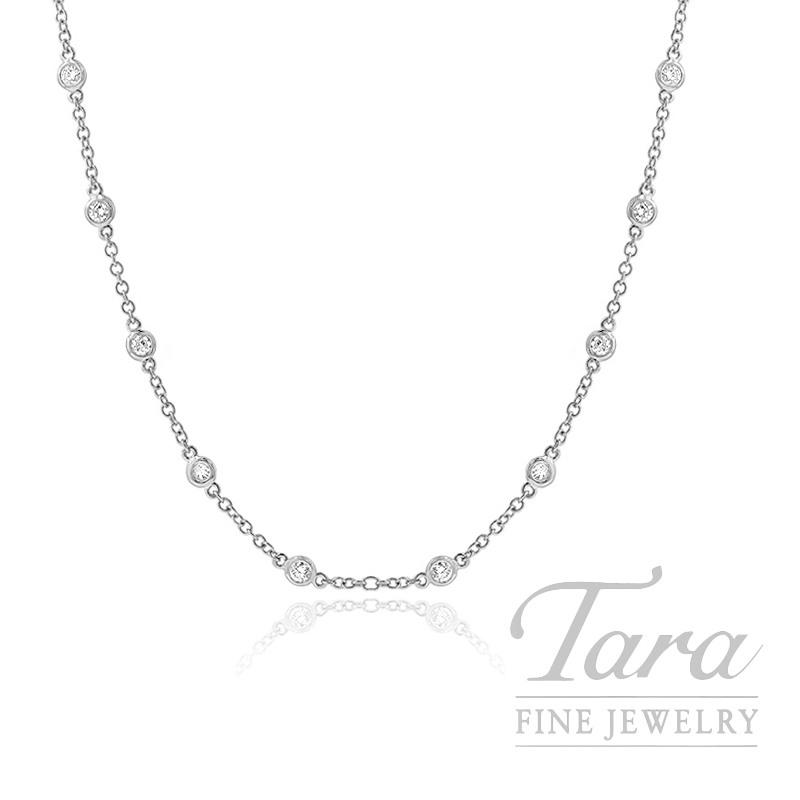 """18K White Gold Diamond Bezel Chain, 16/18"""" Chain, 5.2G, 1.12TDW"""