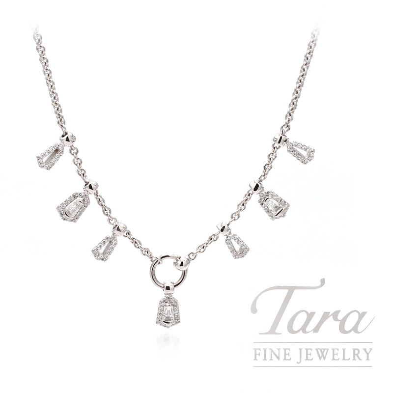 "Norman Covan 18K White Gold  16"" Necklace  96 Round Diamonds  0.40TDW,  3 Taper Baguettes 0.33TDW 10.1 Grams"