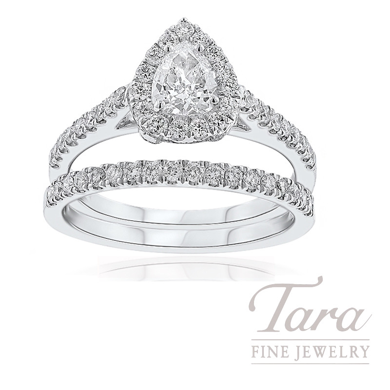 18k White Gold Pear-Shape Diamond Halo Wedding Set, .40CT Pear-Shape Diamond, .90TDW
