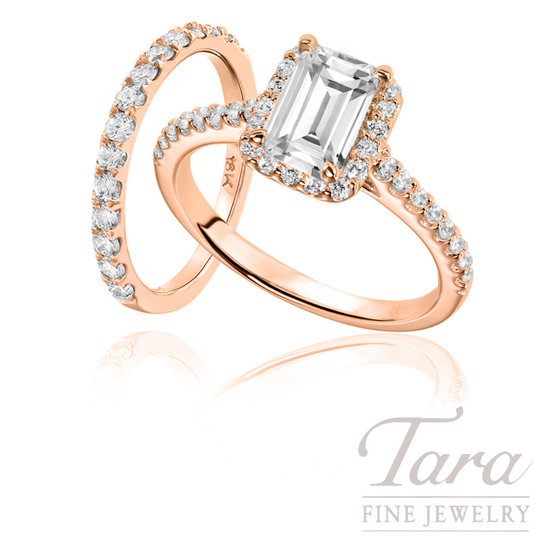 18K Rose Gold Diamond Halo Engagement Ring and Wedding Band, 3.6g, .40TDW (Center Stone Sold Separately)
