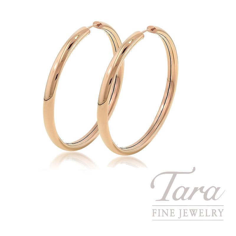 14K Rose Gold Hoop Earrings, 4.0G