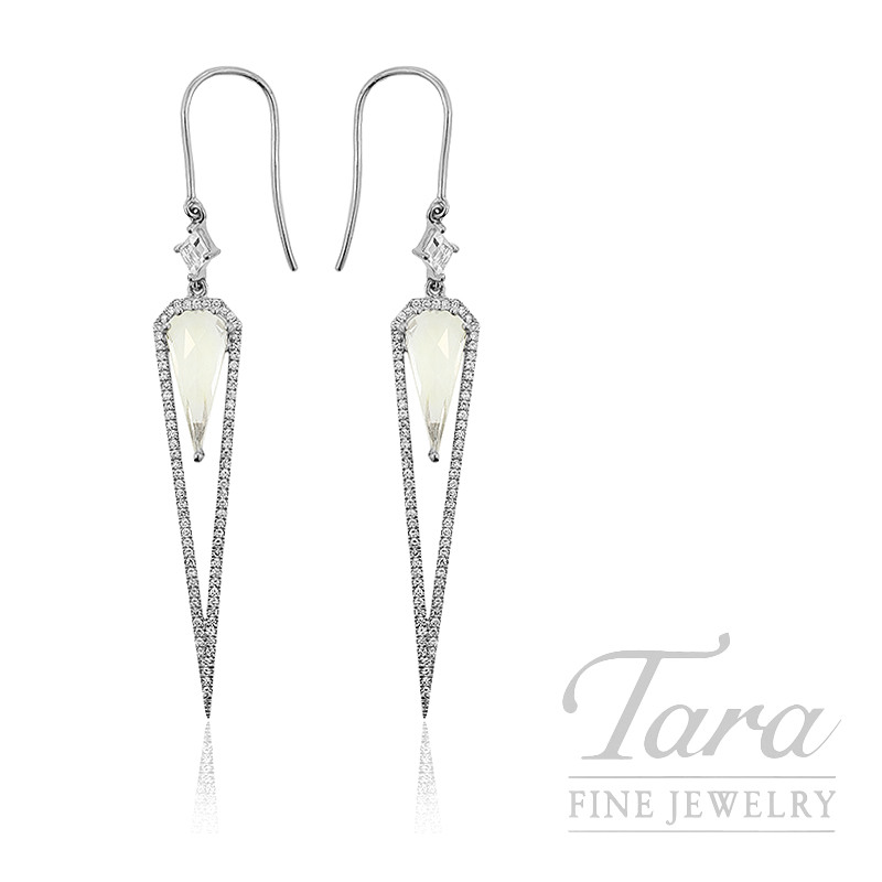 18k White Gold White Topaz Diamond Dangle Earrings 3 8g 3 26tgw White Topaz 36tdw Tara Fine Jewelry