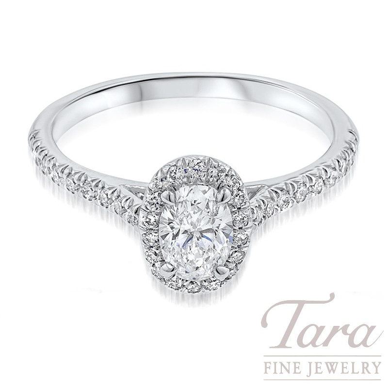 18k White Gold Oval Diamond Engagement Ring, .25TDW (Center Stone Sold Separately)