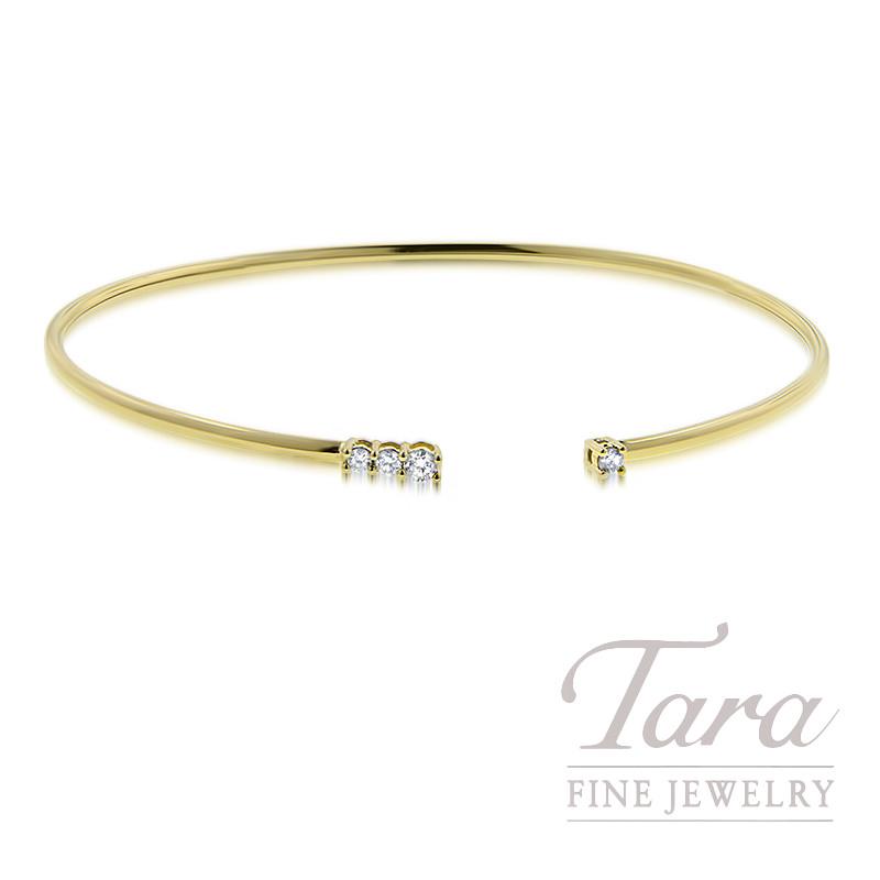 18K Yellow Gold Diamond Bangle Bracelet, 2.9G, .14TDW