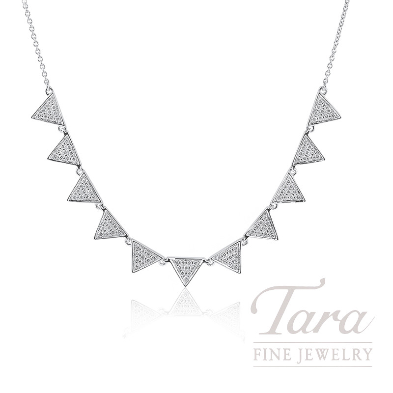 "18K White Gold Pave Diamond Triangle Necklace, 16/18"" Chain, 5.2G, .39TDW"