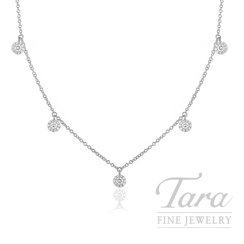 "18K White Gold Diamond Halo Stationary Necklace, 16/17/18"" Chain, 2.7G, .37TDW"