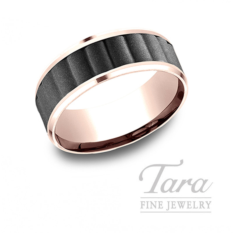 Gentlemen's 14k Rose Gold and Black Titanium Wedding Band, 9.7G