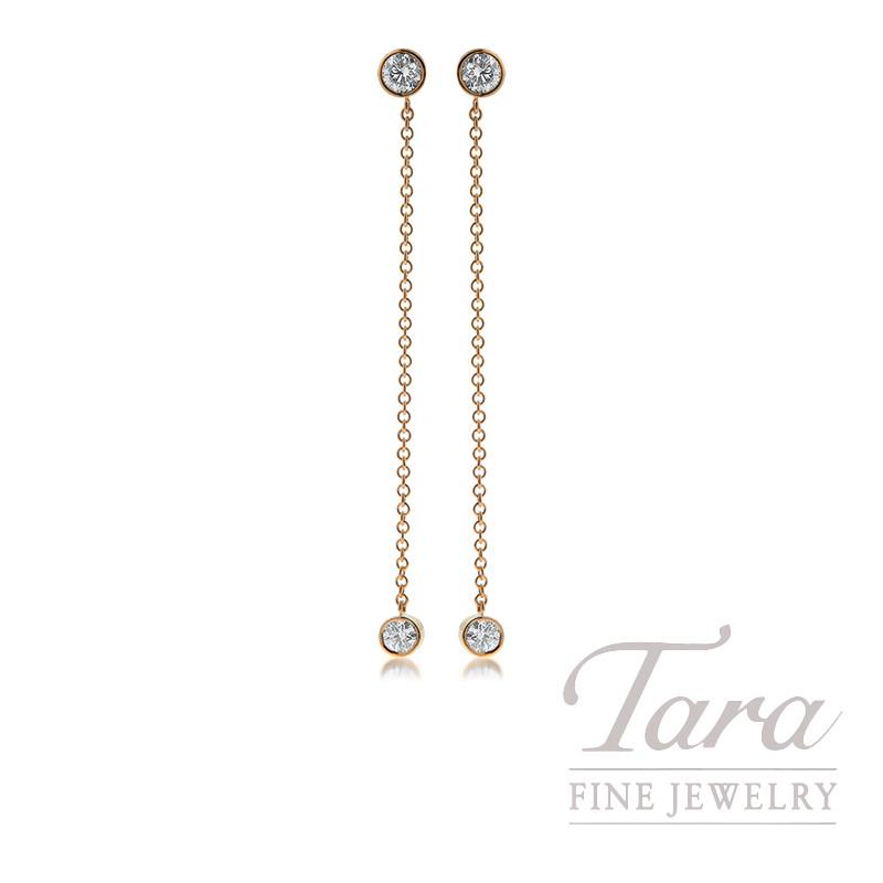 18k Rose Gold Diamond Dangle Earrings 1 04tdw