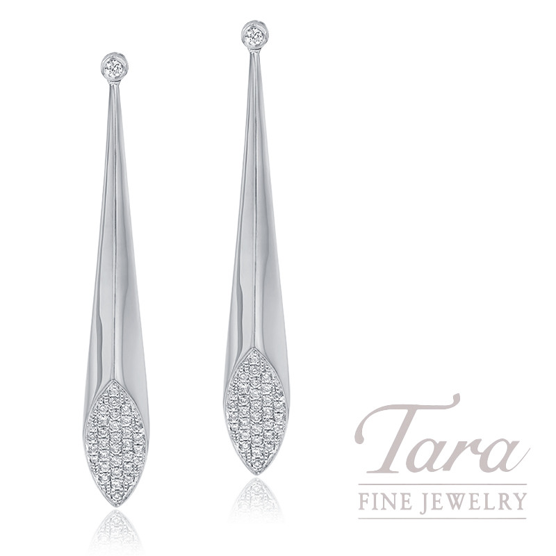 18K White Gold Pave Diamond Fashion Earrings, 5.5G, .27TDW