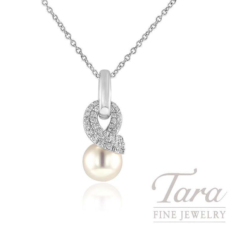 Mikimoto Pearl & Diamond Pendant in 18K White Gold, .22tdw