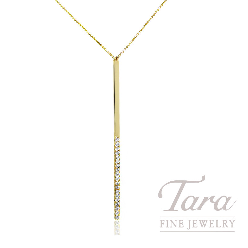 "18K Yellow Gold Diamond Bar Necklace, 16/18"" Chain, 4.6G, .41TDW"