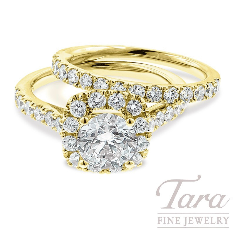 18k Yellow Gold Diamond Halo Wedding Set, 1.33TDW (Center Stone Sold Separately)