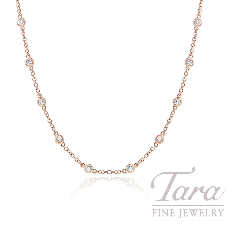 "18K Rose Gold Diamond Bezel Chain, 16/18"" Chain, 5.3G, 1.14TDW"
