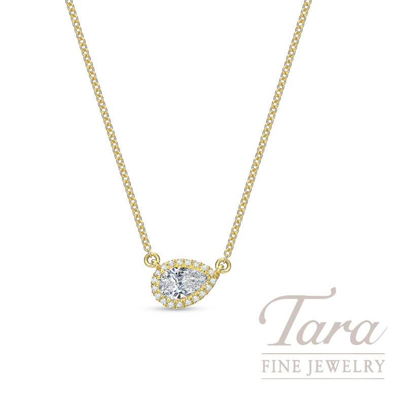 "18K Yellow Gold Pear-shape Diamond Halo Necklace, 18"" Chain, 2.3G, .26CT Pear-shape Diamond, .06TDW"