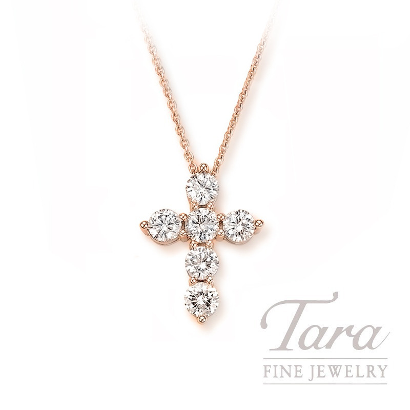 18k Rose Gold Tiny Diamond Cross Pendant, .5G, .43TDW