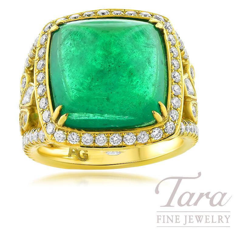 18K Yellow Gold Diamond and Sugarloaf Cabochon Emerald Ring, 90 Diamonds 1.53TDW, Emerald 14.08CT