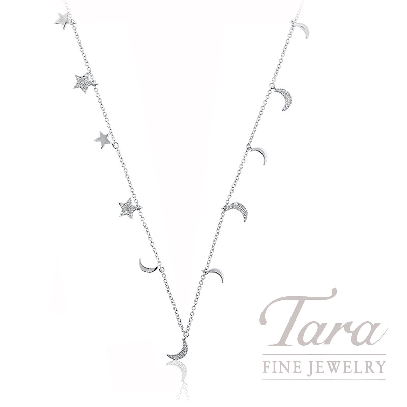 "18K White Gold Star & Moon Diamond Chain Necklace, 32/34"" Chain, .66TDW"
