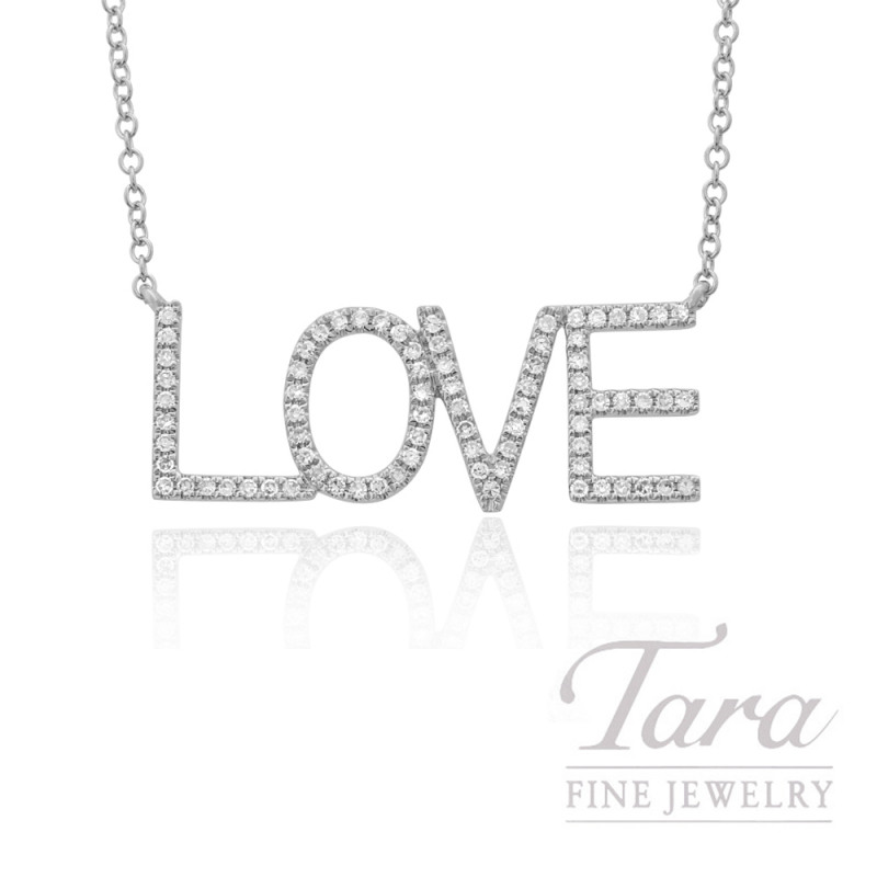 "14k White Gold ""LOVE"" Diamond Necklace, 16/18"" Chain, .19TDW"