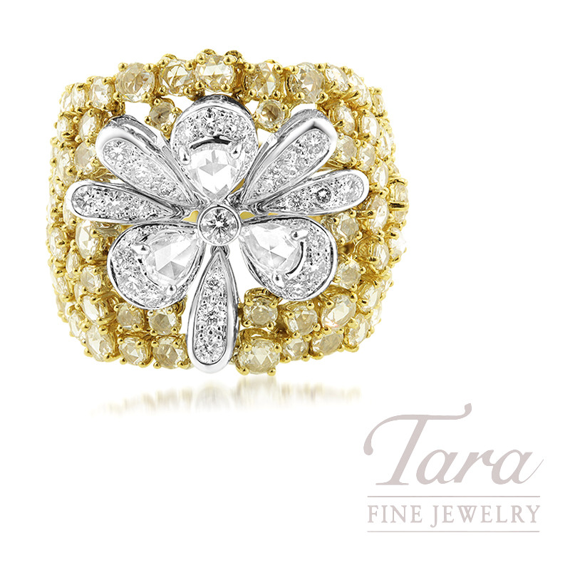 18K Yellow Gold Diamond Fashion Ring, 3.41TW Rose Cut Diamonds, .81TW Pear-shape Diamonds, .66TW Round Brilliant Diamonds