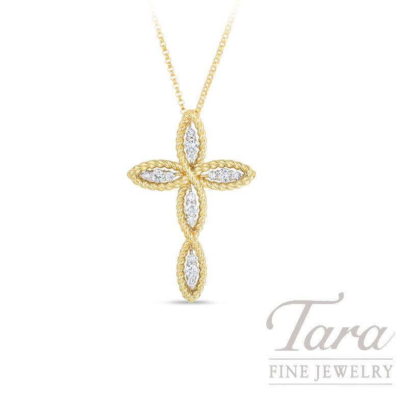 Roberto Coin 18K Yellow Gold Barocco Diamond Cross Necklace, .38TDW, Barocco Collection