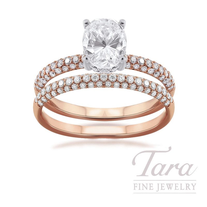 18k Rose Gold and Platinum Pave Diamond Wedding Set, .73TDW (Center Stone Sold Separately)