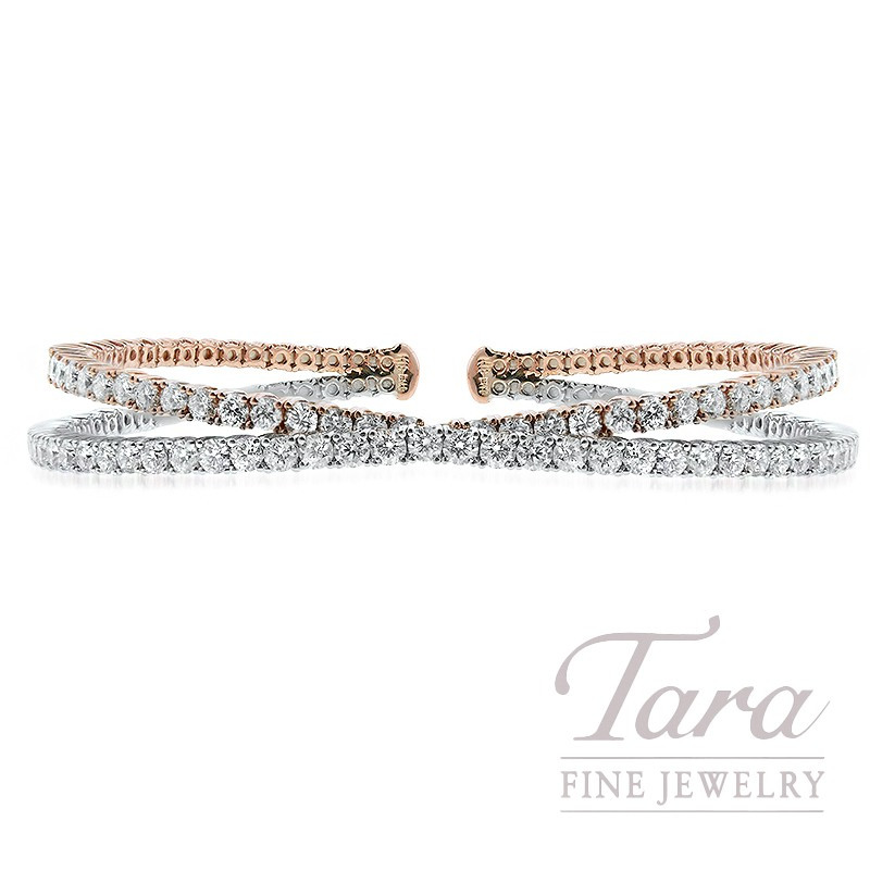 18K White and Rose Gold Criss-Cross Diamond Bangle, 18.0G, 3.96TDW