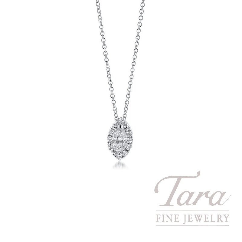 18K White Gold Marquise Diamond Halo Pendant with Chain, .13TDW Halo - Click for Available  Sizes
