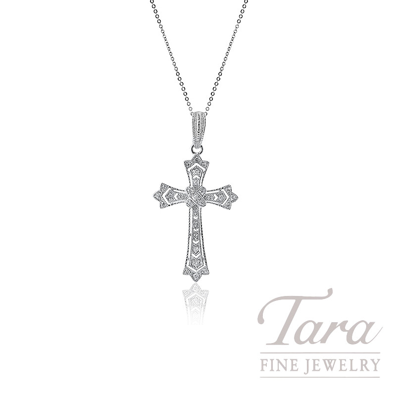 Sterling Silver Diamond Cross Necklace, 6.8G, .10TDW