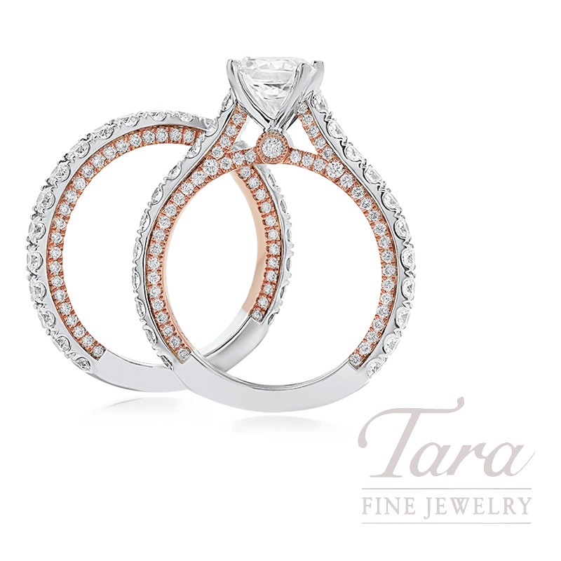 18k Rose and White Gold Diamond Wedding Set, 2.28TDW (Center Stone Sold Separately)