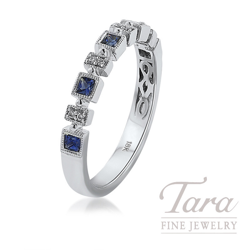 18K White Gold Blue Sapphire and Diamond Stackable Band, 2.6G, .25TGW Blue Sapphires, .03TDW