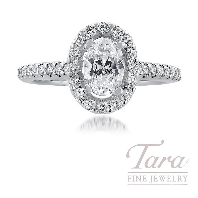18K White Gold Oval-shape Diamond Halo Engagement Ring, 32 Round Diamonds, .40TDW (Center Stone Sold Separately)