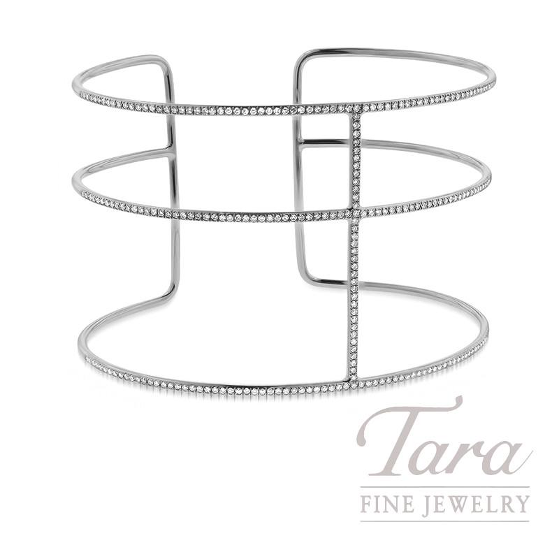 18k White Gold Diamond Cuff Bracelet, 12.0G, .85TDW