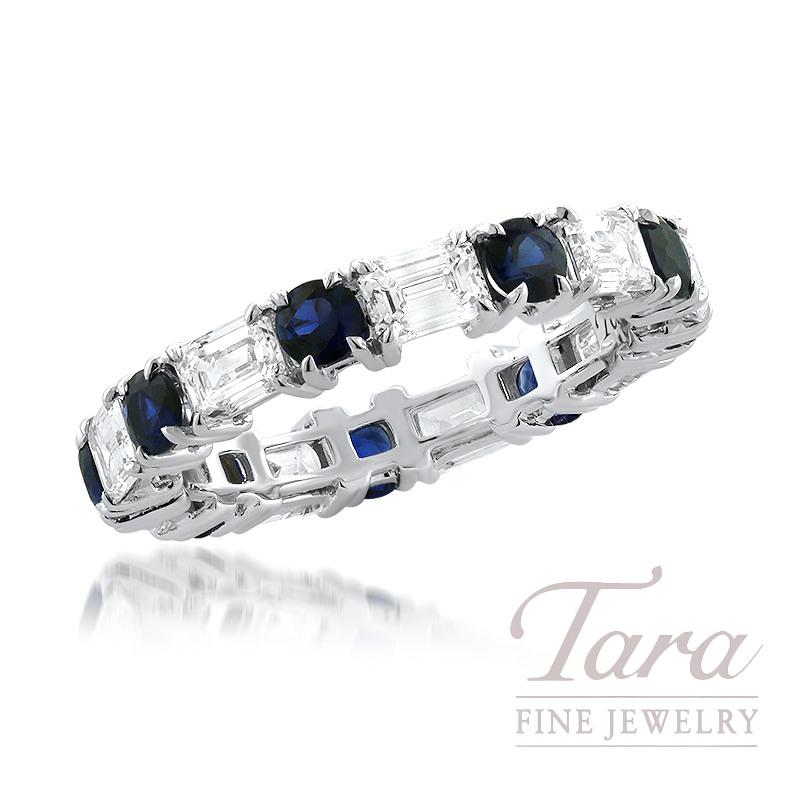 18K White Gold Emerald Cut Diamonds 2.12TDW and Round Blue Sapphire 1.27TGW Band