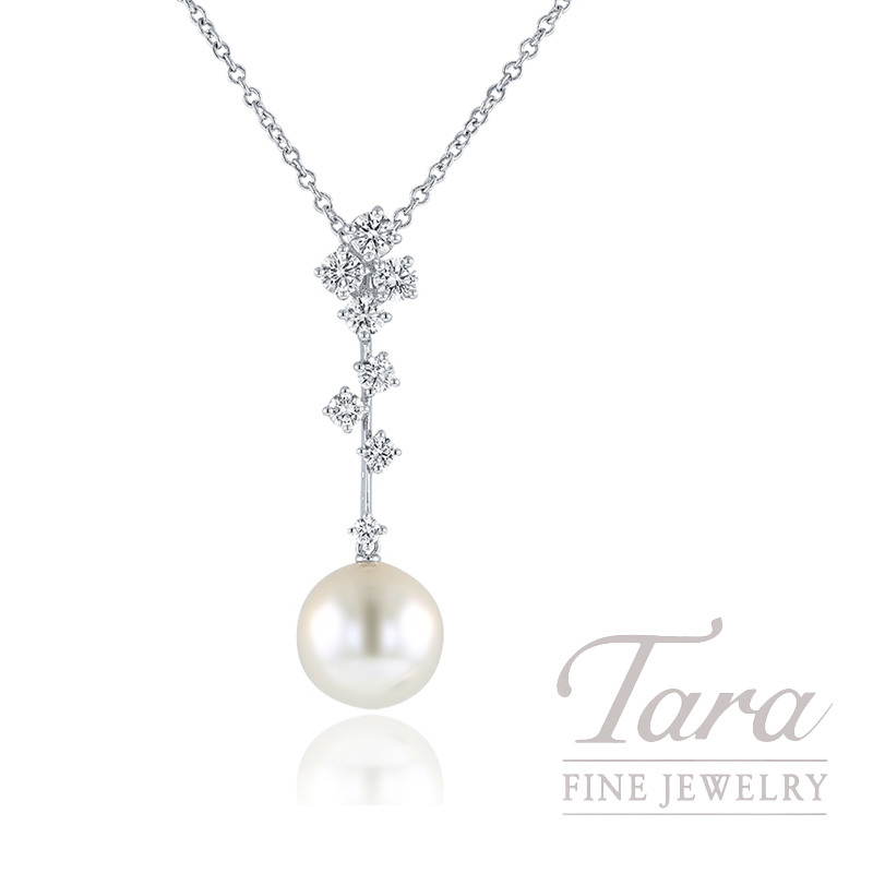 Mikimoto 18k White Gold Pearl and Diamond Necklace, 11mm Pearl, .81TDW