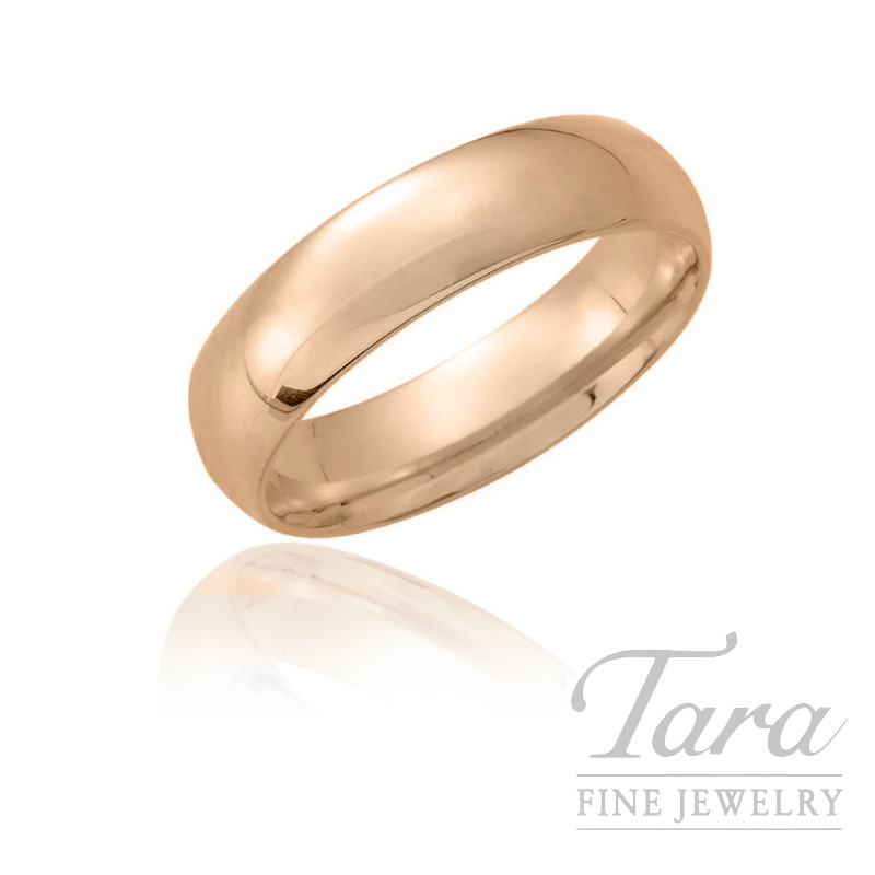 18K Rose Gold European Wedding Band, 5.5MM, 6.7G