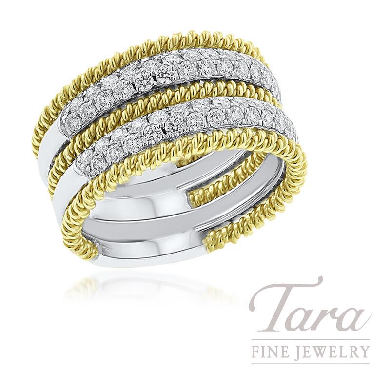 Simon G 18K Two-Tone Pave Diamond Fashion Ring, 8.7G, .79TDW