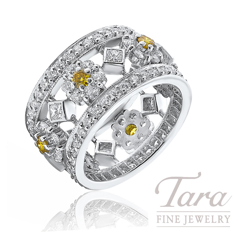 Platinum Fancy Yellow Diamond Fashion Ring, .18TW Fancy Yellow Diamonds, .30TW Princess Cut Diamonds, 2.54TW Round Diamonds