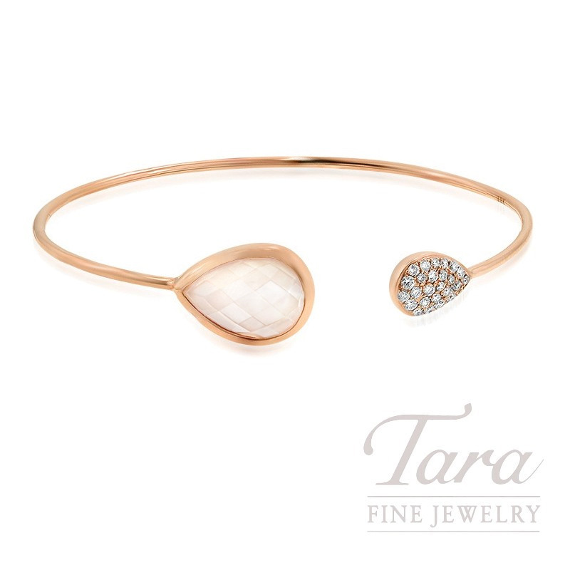 18K Rose Gold Clear Quartz, Mother of Pearl, and Diamond Bangle, 5.9G, .27TDW