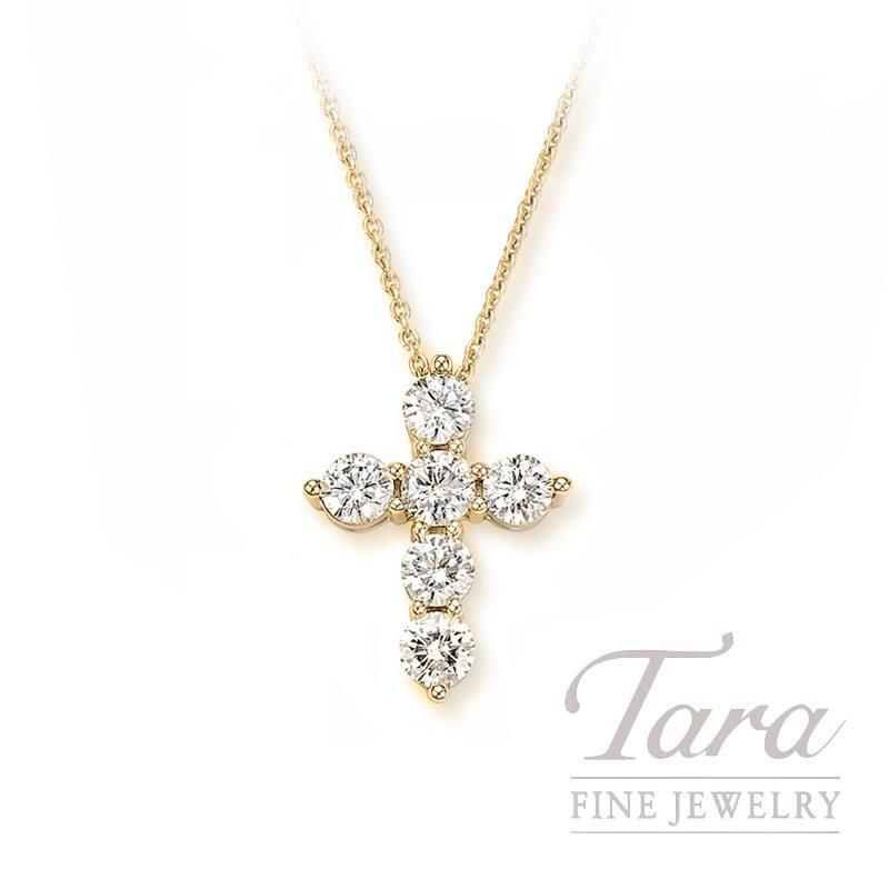 18k Yellow Gold Tiny Diamond Cross Pendant, .5G, .43TDW